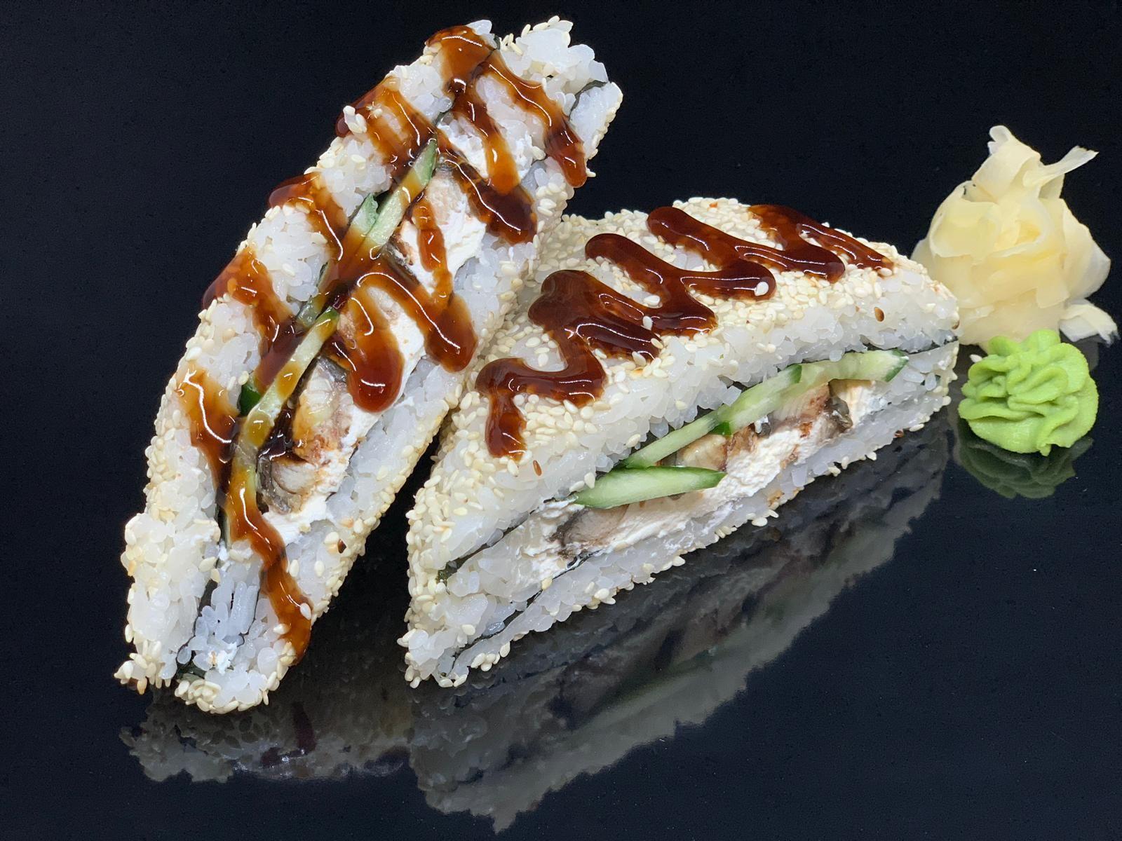 sandwich roll with cucumber, sesame, cucumber & teriyaki sauce